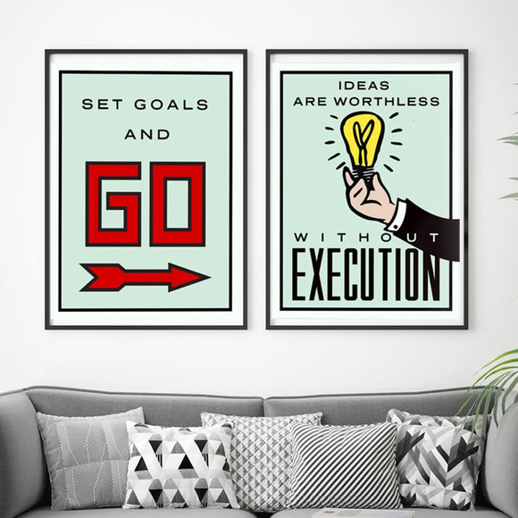 Alec Monopolies Art Canvas Painting Board Game Card Poster And Print Minimalist Modern Wall Pictures For Office Room Home Decor