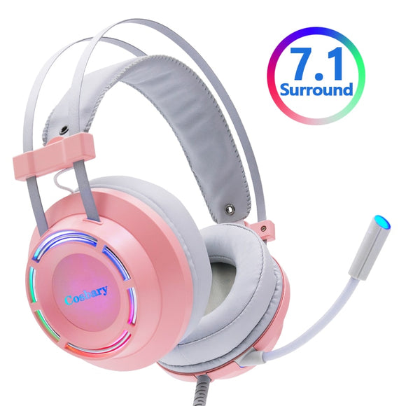 Pink Headphones Gaming Headset Wired with Microphone Professional Gamer 7.1 Surround Sound RGB Light for PC Computer Xbox One
