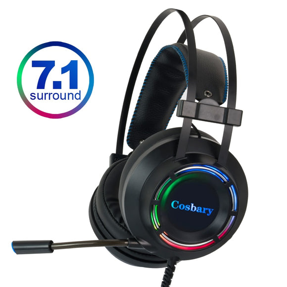 7.1 Gaming Headset Headphones with Microphone for PC Computer for Xbox One Professional Gamer Earphone Surround Sound RGB Light