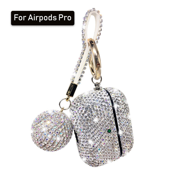 Bling Girls Protector For Airpods 2 pro 3 Cases Luxury Diamond Cover With Hanging Ball Keychain For Apple Air pods Charging Box