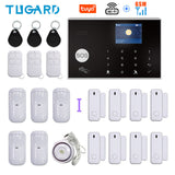 Tuya WIFI GSM Home Burglar Security Alarm System 433MHz APP Control LCD Touch Keyboard 11 Languages Wireless Alarm System Kit