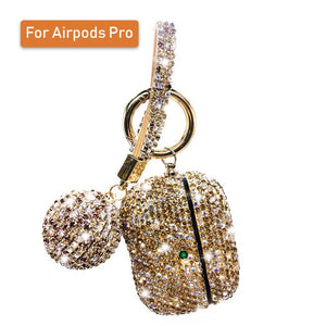 For Airpods 2 Pro 3 Cases Luxury Glitter Diamond Cover With Hanging Ball Keychain For Apple Airpods Charging Box Protector