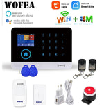 WOFEA Wireless WIFI GSM Alarm System RFID Burglar Security LCD Touch Keyboar Tuya Smart & Smartlife APP Work Alexa & Google Home