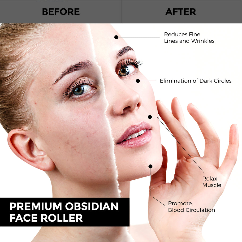 Obsidian Face Roller and Gua Sha - MIJEP