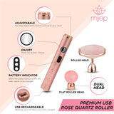 USB Vibrating Rose Quartz roller (Twin Head) - MIJEP