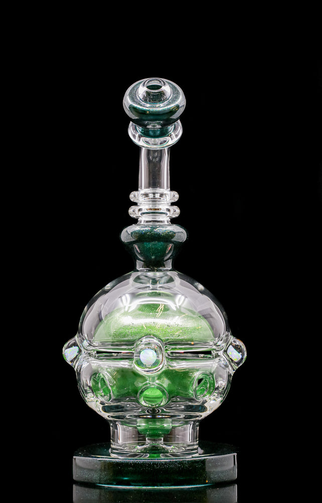"BC Glass (aka Brandon Clark) Green ""Color Fab Egg"" oil rig"