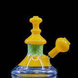 "Tyme Glass ""Yellow Plunger"" oil rig with removable dome and dot stack technique"