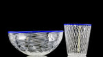 "Xander D'Ambrosio - Blue Lipped ""Retticello Rocks"" & Cane Bowl Set"