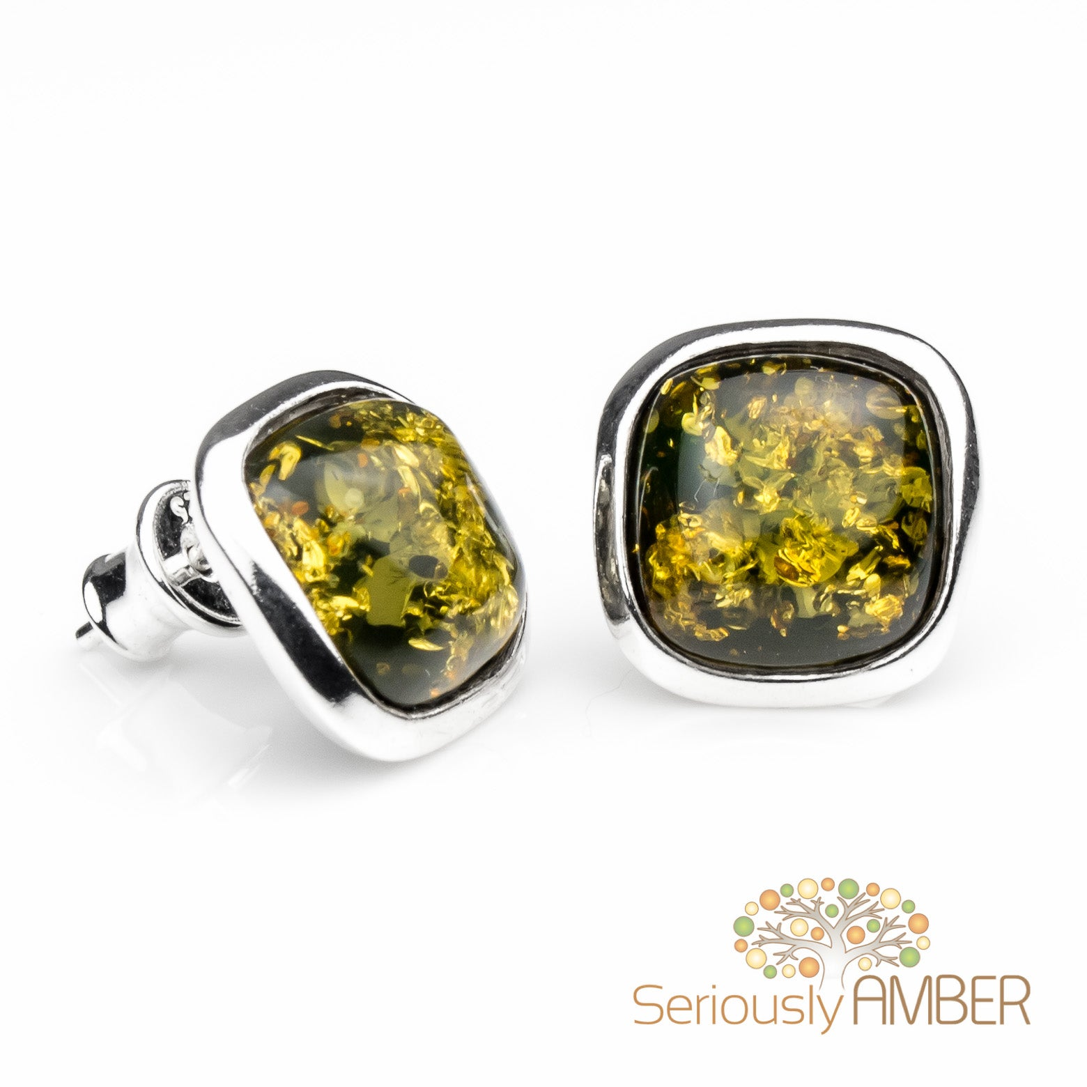 Green Amber Sterling Silver Stud Earrings JzLnAH5X