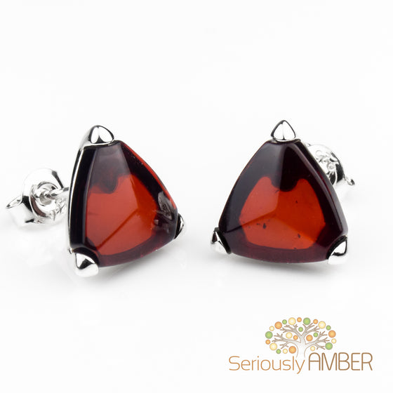Cherry Amber Sterling Silver Pearl Stud Earrings HEEWQjsc