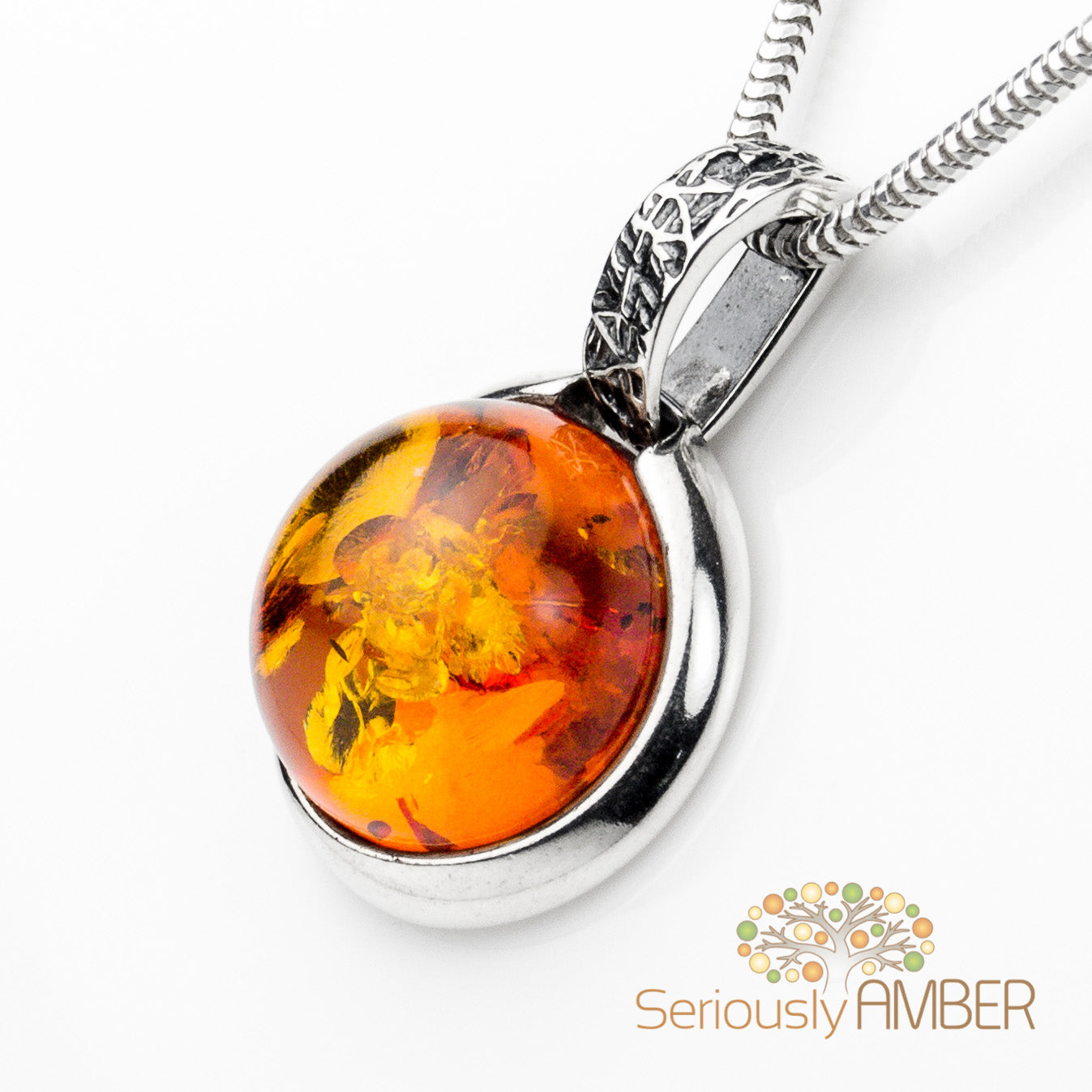 BALTIC AMBER AND STERLING SILVER 925 DESIGNER COGNAC PENDANT JEWELLERY JEWELRY NO CHAIN