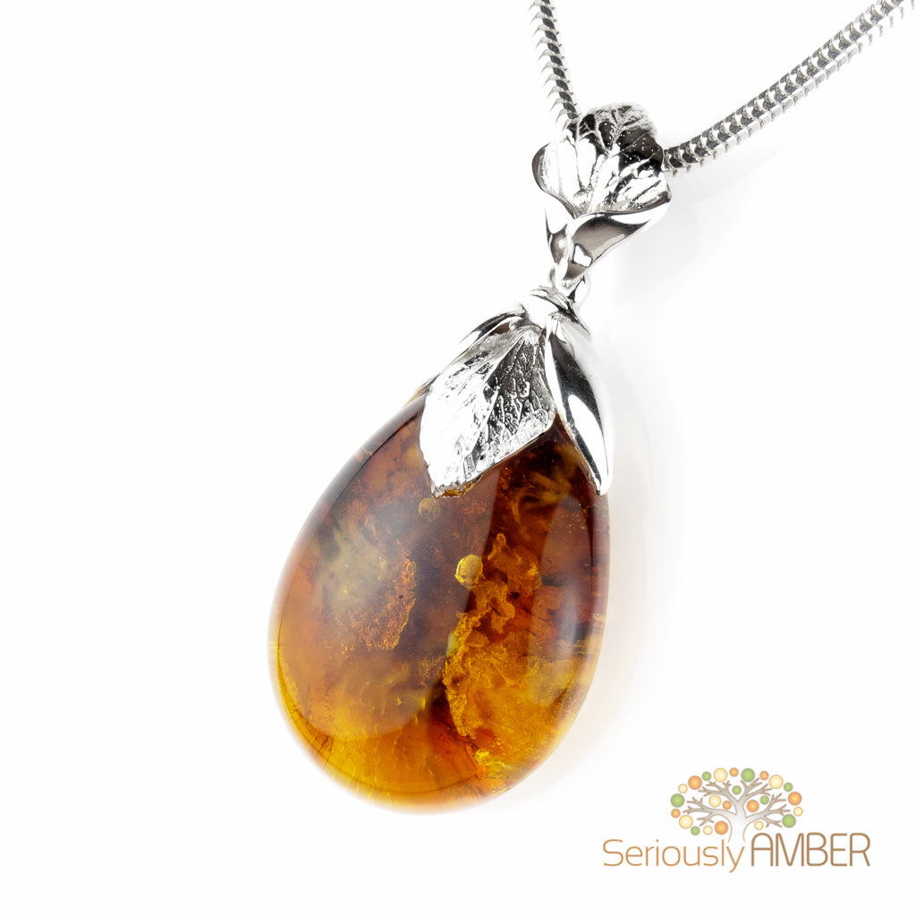 BALTIC AMBER STERLING SILVER 925 FLOWERBUD PENDANT NECKLACE CHAIN JEWELLERY GIFT