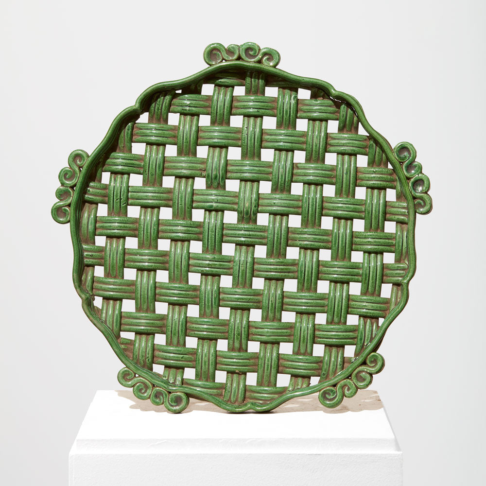 Large ceramic braided tray