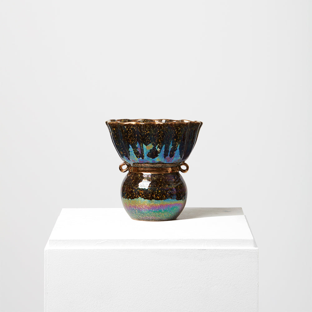 Small iridescent vase and gold