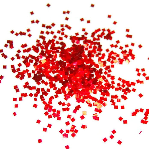Cherry Red Glitter Squares 0.035