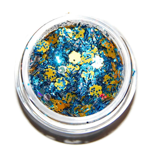 Blue, Silver and Yellow Glitter Mix