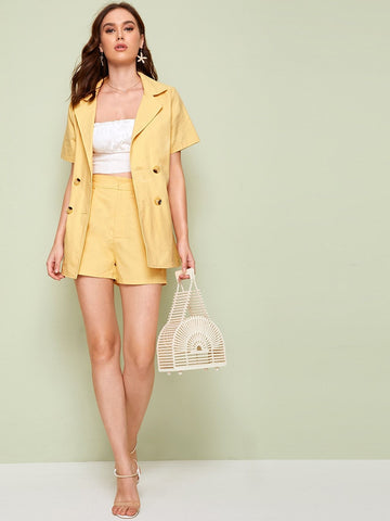 Double Breasted Notched Neck Blazer With Shorts