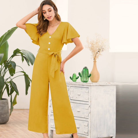 Button Front Butterfly Sleeve Belted Jumpsuit