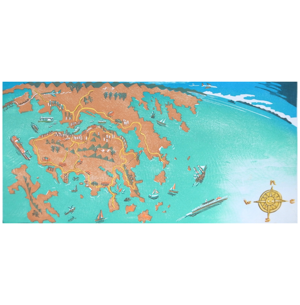 Map of Hong Kong Greeting Card