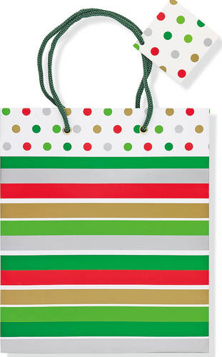 Deluxe Gift Bag Holiday Stripes and Dots