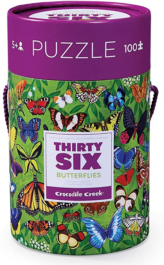 Crocodile Creek - Thirty-Six Butterflies - 100 Piece Jigsaw Puzzle in Canister, Includes Educational Animal Finder Sheet, for Ages 5 Years and Up, 1 ea