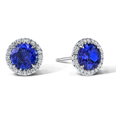 Sapphire & Diamond Stud Earrings