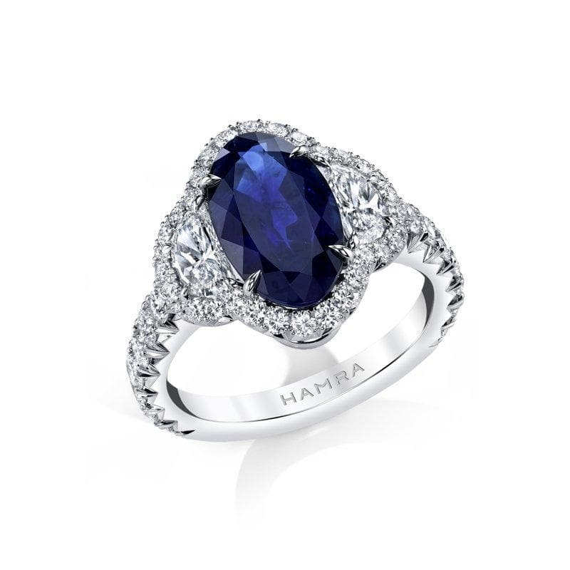 Moval Shaped Sapphire & Diamond Ring