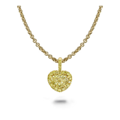 Heart Shaped Yellow Diamond Necklace