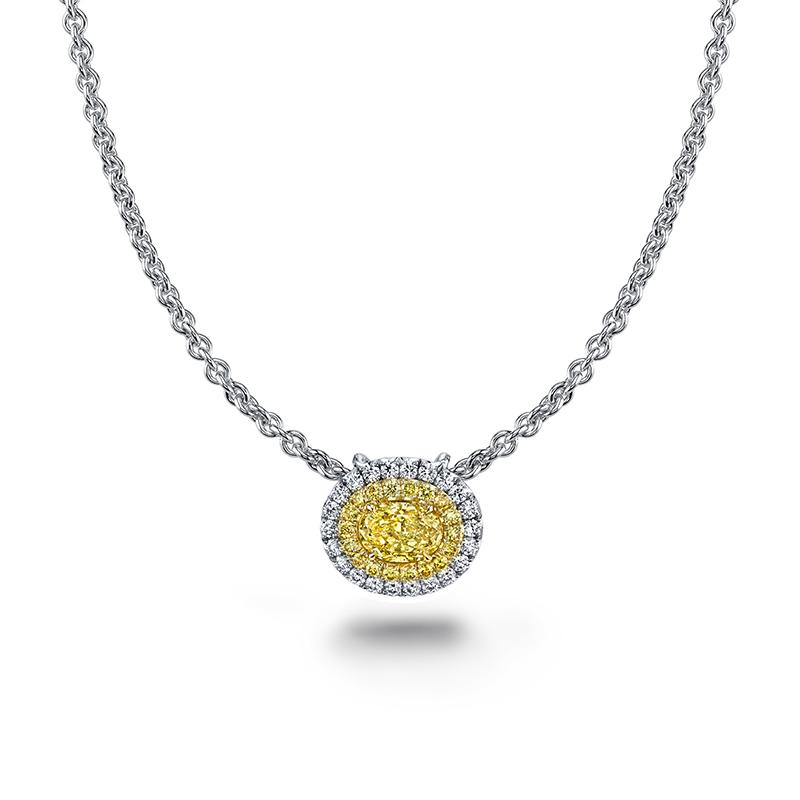 Oval Shaped Yellow Diamond Necklace
