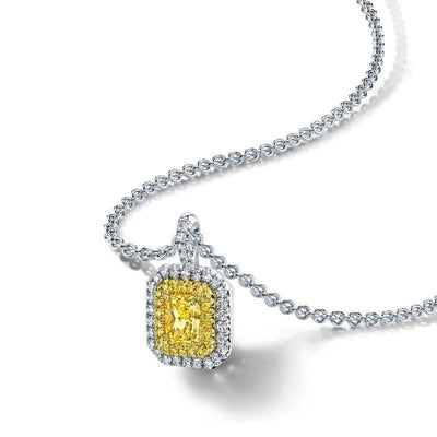 Radiant Fancy Yellow Diamond Necklace