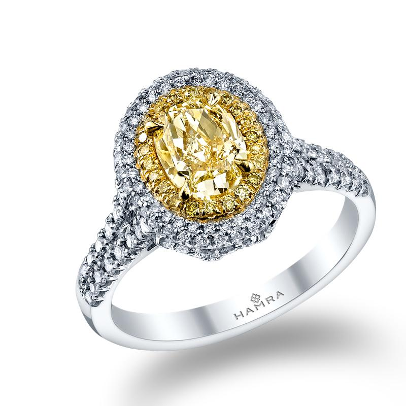 Oval Shaped Yellow Diamond Ring