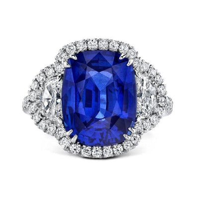 Cushion Cut Sapphire & Diamond Ring