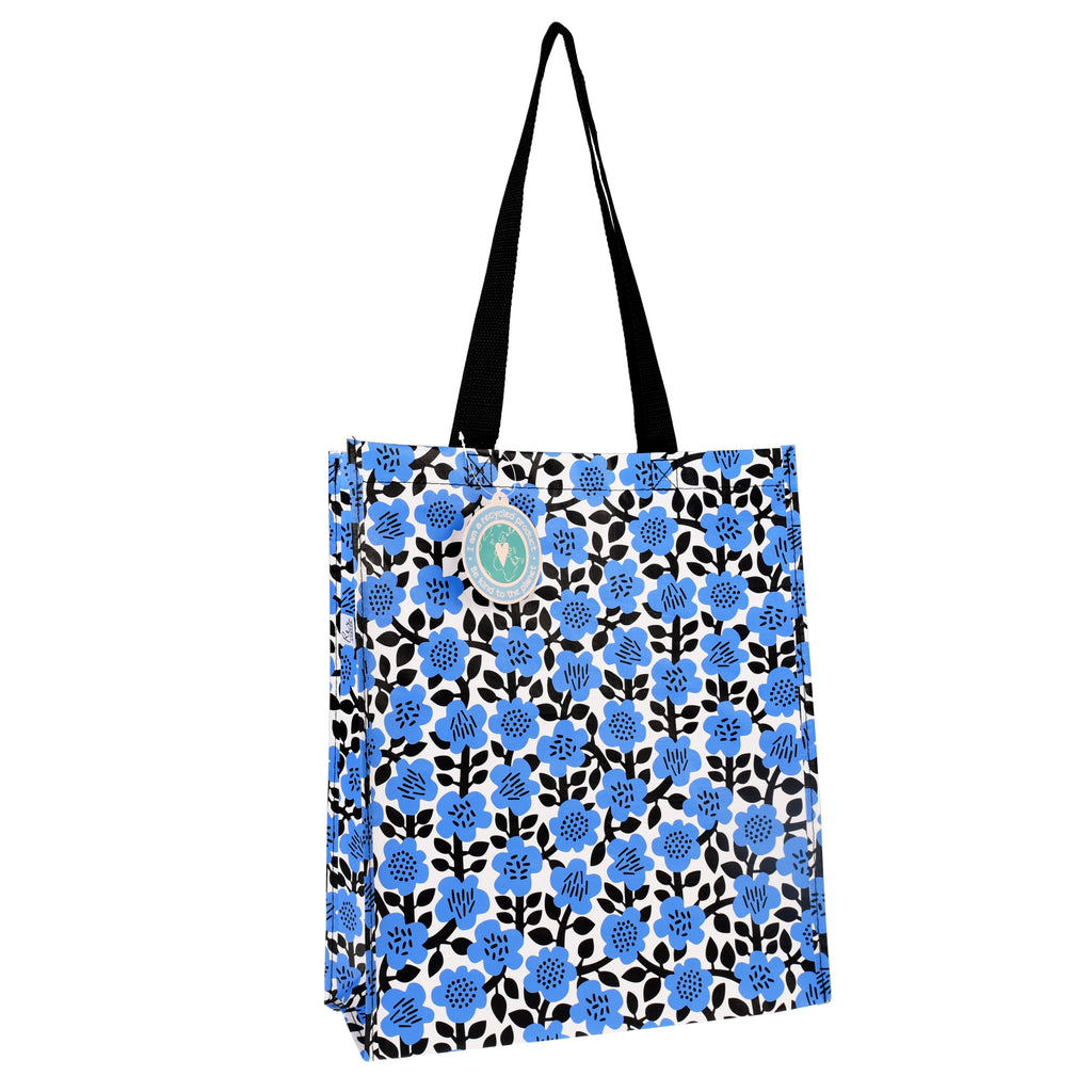 Blue Astrid Flower Handy Shopping Bag