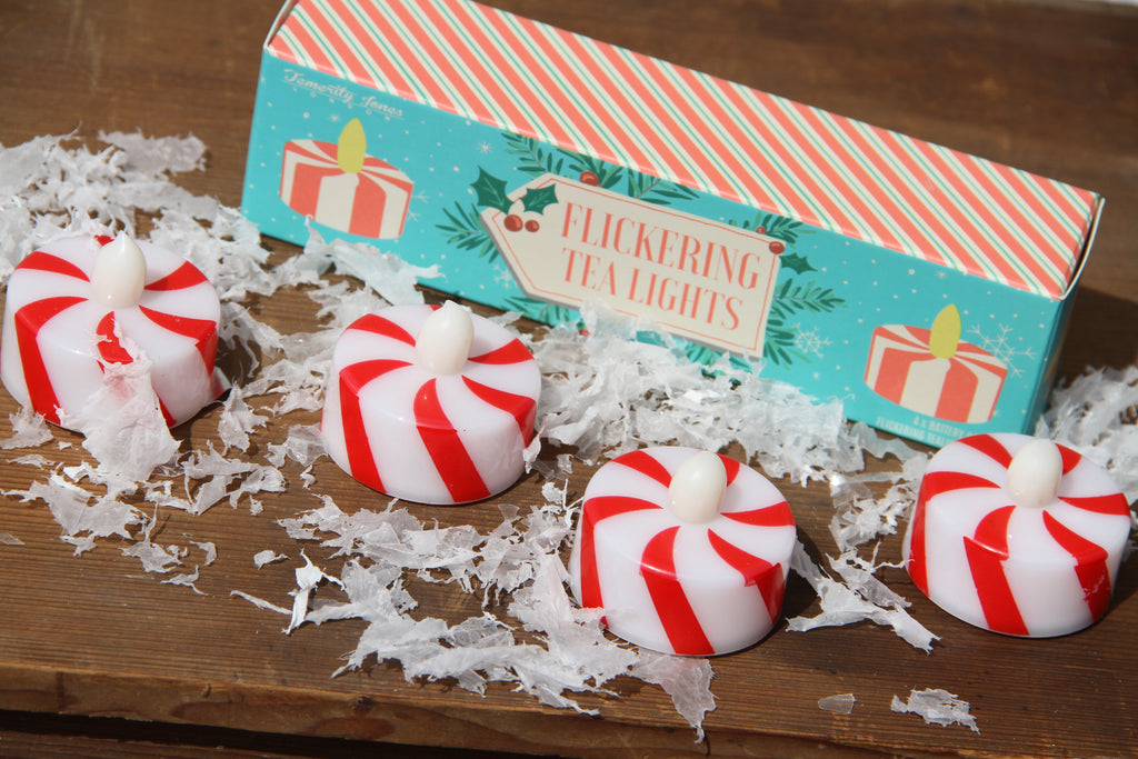 Set of Four Candy Stripe Flickering Tea Lights