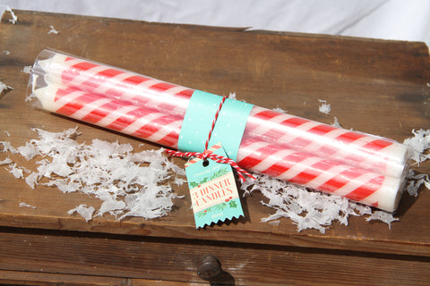 Set of Three Candy Stripe Dinner Candles