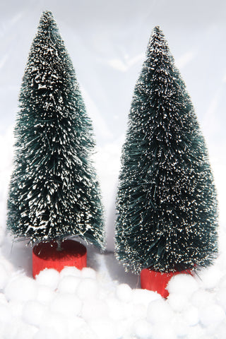 Set of Two Frosted Christmas Trees