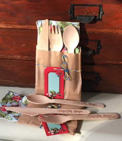 Summer Festival Single Wooden Cutlery (Two Sets)