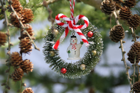 Snowman in a Wreath Decoration