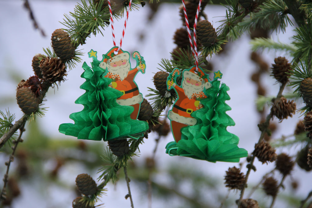 Set of Two Mini Paper Honeycomb Santa and Tree Decorations.