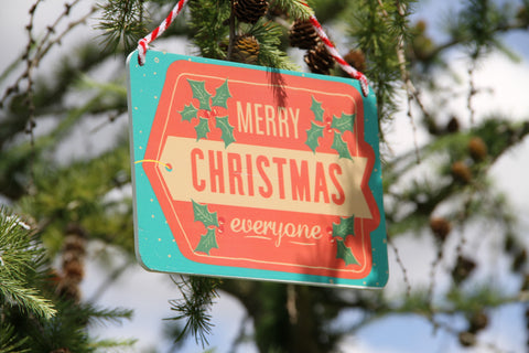 Merry Christmas Everyone! Red and Green Wooden Sign.