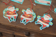 Set of Three Mini Wooden Santas.