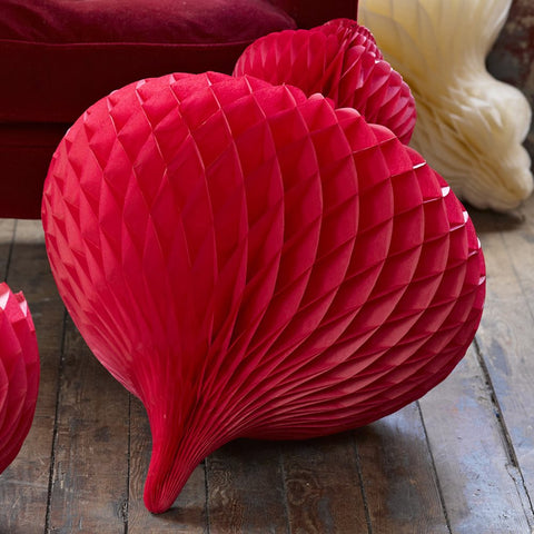 Giant Paper Honeycomb Bauble Decoration - Red
