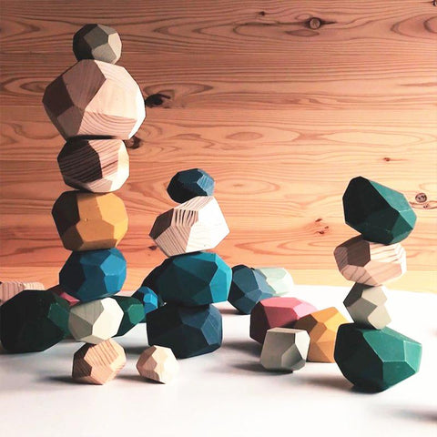 Building Blocks Wood Rock Set Balancing Blocks Natural Wood Toys