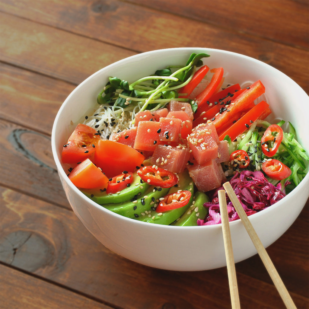 Ahi Tuna Poke Vegetable Noodle Bowl