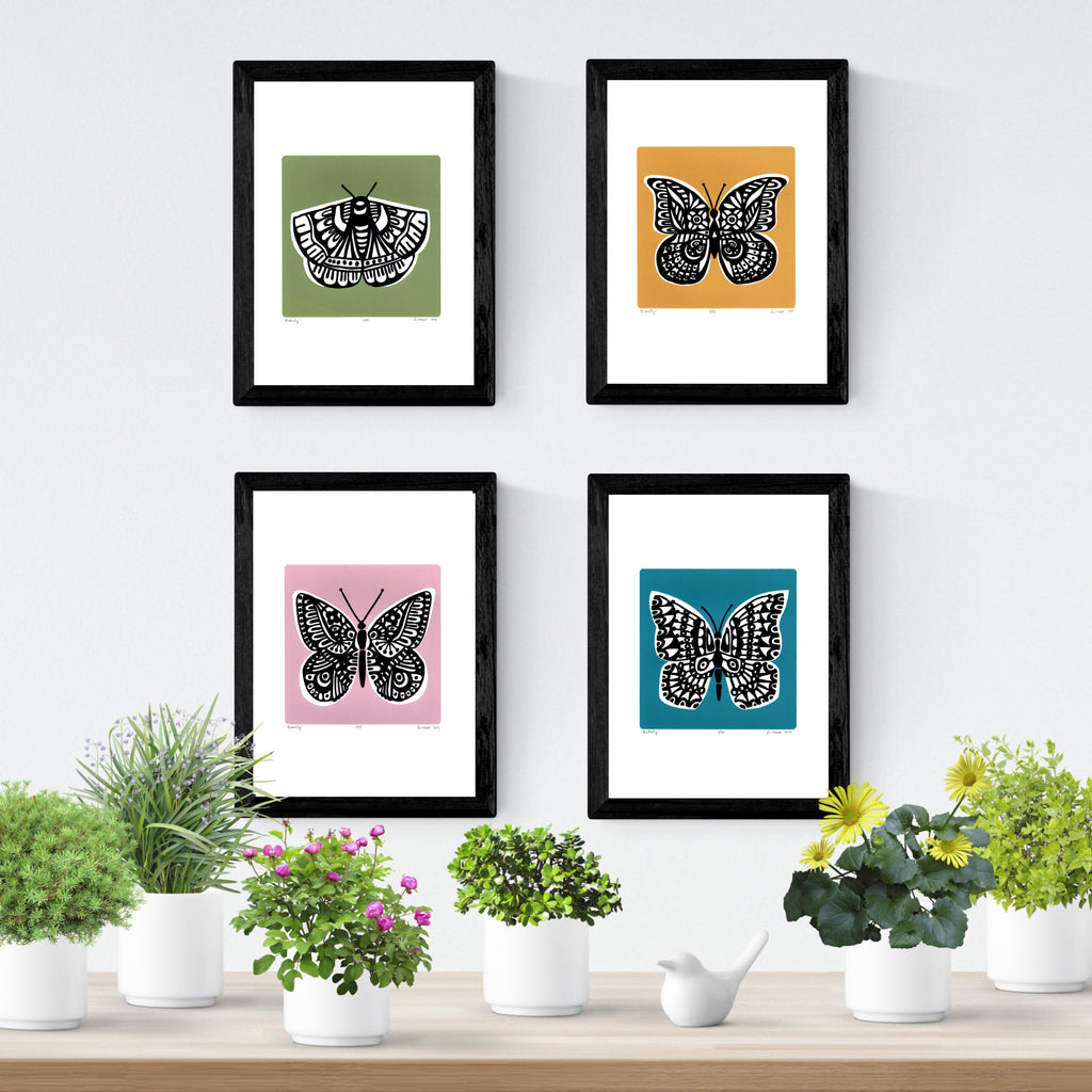 Botanical Style limited edition Butterfly Screen Prints by Lu West