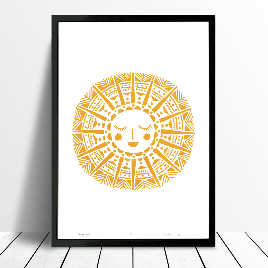 Maya Sun limited edition screen print in yellow ochre in a Midcentury Illustrative Style