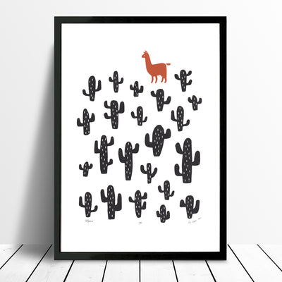 Alpaca Screen Print in Terracotta and Black