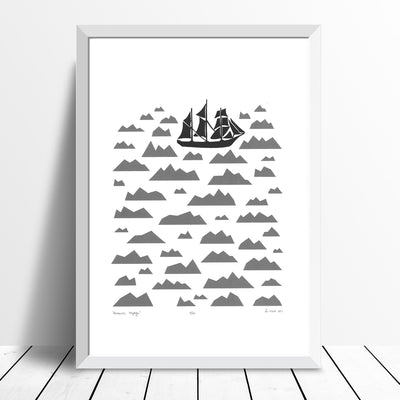 Antarctic Voyage Screen Print in Graphite Grey