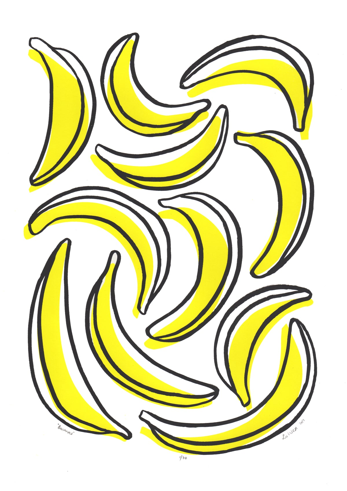 Bananas Screen Print in Yellow and Black