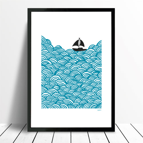 Bigger Boat Giclee Print in Azure Blue